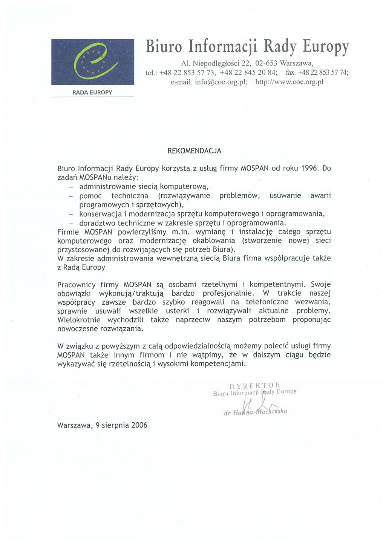 Biuro Informacji Rady Europy